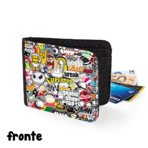 fronte portafoglio sticker bomb rap stickerbomb gadget figo comodo regalo