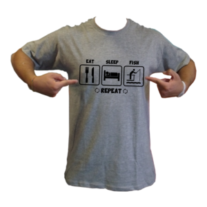 maglietta t-shirt pesca eat sleep fish repeat loghi pescatore