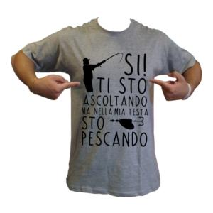t-shirt maglietta pescando nella testa pesca pescatore