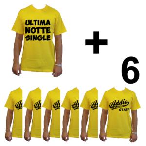 KIT maglietta t-shirt addio al celibato modello sposo ULTIMA NOTTE SINGLE idea gruppo staff team 6