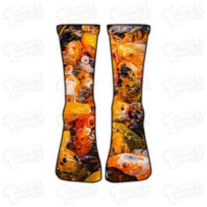 Calzino Calzettino personalizzato Carpa Koi carp pesca hobby arancione pesce fish fishing colorato simpatico divertente regalo moda stampato idea regalo gift sorpresa calza piede foot foto