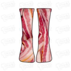 Calzino Calzettino personalizzato Pancetta Bacon cibo food grasso pork pig hamburger colorato simpatico divertente regalo moda stampato idea regalo gift sorpresa calza piede foot foto personale