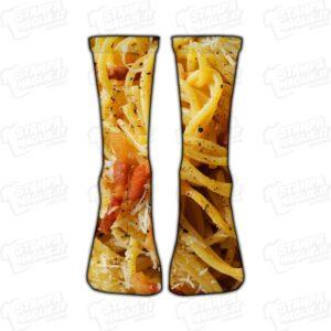 Calzino Calzettino personalizzato Spaghetti carbonara cibo food uovo pancetta guanciale pecorino piatto simpatico divertente regalo moda stampato idea regalo gift sorpresa calza piede foot