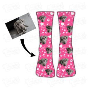Calzino Muso e nome del tuo cane amici a quattro zampe dog calza calzettone calzino calze scarpe socks personalizzati immagine fotografia ritratto foto muso