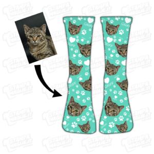 Calzino Muso e nome del tuo gatto amici a quattro zampe cat calza calzettone calzino calze scarpe socks personalizzati immagine fotografia ritratto foto muso