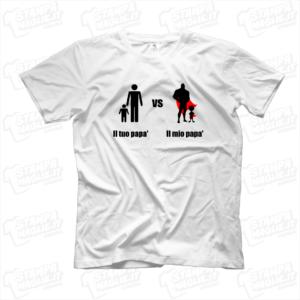 Il mio papa vs il mio papa T-shirt maglietta maglia supereroi eroe festa del papà happy father day daddy dad babbo regalo bambini