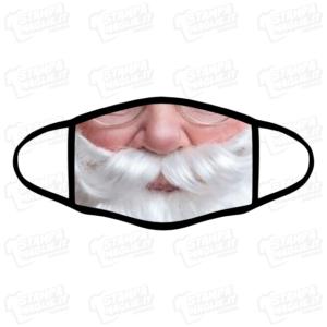 Mascherina Babbo Natale 2 bordo nero simpatica divertente lavabile covid Baffo Santa Claus Christmas Holiday vacanze father xmas