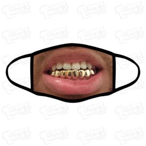 Mascherina Denti oro bordo nero simpatica divertente lavabile covid regalo amici amico gift faccia sciocca bocca viso