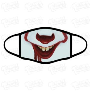 Mascherina IT clown bordo nero programmi film serie tv personaggi horror paura terrore mangia bambini sangue regalo divertente simpatico lavabile covid