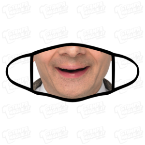 Mascherina Mr Bean personalizzata bordo nero sublimatico lavabile stampata protezione covid divertente simpatica personaggio comico film inglese