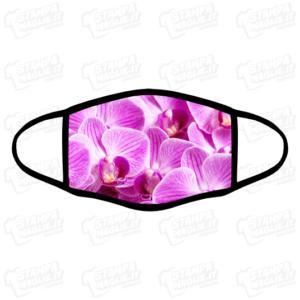 Mascherina Orchidea rosa bordo nero personalizzata sublimatico lavabile stampata protezione covid divertente fiore flower floreale fucsia orchid femminile giardinaggio