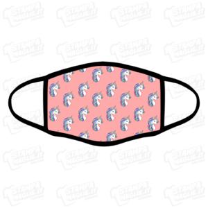 Mascherina Unicorni Unicorn rosa pink bordo nero personalizzata sublimatico lavabile stampata protezione covid divertente simpatica bambina animale fantastico fantasy
