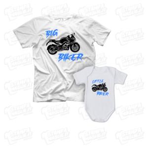 T-shirt Big Little Biker maglia maglietta body baby neonatofesta del papà dad father day regalo pensiero gift genitori genitore maschio figli personalizzata motori moto