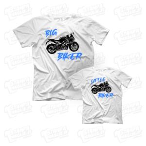 T-shirt Big Little Biker maglia maglietta festa del papà dad father day regalo pensiero gift genitori genitore maschio figli personalizzata motori moto