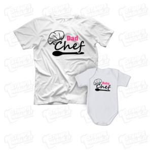 T-shirt Dad e Baby Chef body neonata maglia maglietta festa del papà dad father day regalo pensiero gift genitori genitore femmina figlio figli personalizzata motori moto