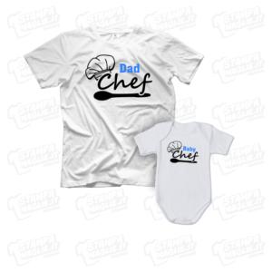 T-shirt Dad e Baby Chef body neonatomaglia maglietta festa del papà dad father day regalo pensiero gift genitori genitore maschio figlio figli personalizzata motori moto