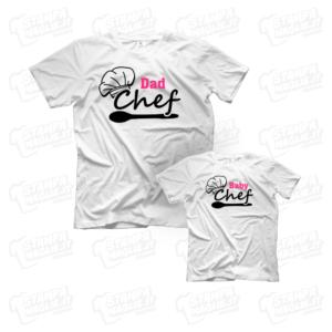 T-shirt Dad e Baby Chef maglia maglietta festa del papà dad father day regalo pensiero gift genitori genitore femmina figlia figli personalizzata motori moto