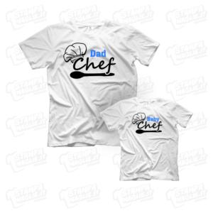 T-shirt Dad e Baby Chef maglia maglietta festa del papà dad father day regalo pensiero gift genitori genitore maschio figlio figli personalizzata motori moto