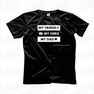 T-shirt My friend my hero my dad maglia maglietta festa del papà regalo per il papa' genitore figlio dad father amico gift ricorrenza compleanno auguri calcio amore bambini