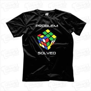 T-shirt Problem solved Maglia maglietta divertente simpatica cubo di rubik nerd giochi play player game rompicapo problema risolto prestigio magia regalo compleanno gift sorpresa colorato