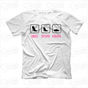 T-shirt Scarpe single sposata mamma regalo divertente simpatico donna ragazza compleanno mom mother shoes evoluzione persona esaurita stanca comoda tacco ballerina ginnastica