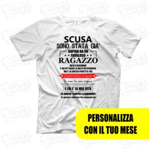 T-shirt Scusa sono stata già rapita da un ragazzo maglietta divertente scherzo di coppia fidanzato fidanzata amore love scritte boy regalo
