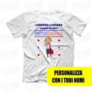 T-shirt Super mamma figli regalo personalizzato festa della mamma last minute ultimo minuto 24 ore gadget mother day mom stampa modificabile maglie maglietta magliettina