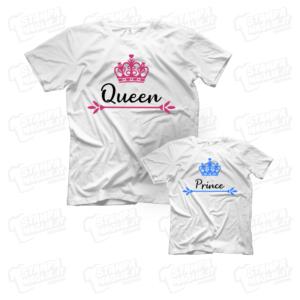 T-shirt maglia maglietta Queen Prince festa della mamma regalo happy mother day mom figli genitori scritte kids bambino last minute ultimo minuto nome personalizzata cordinato