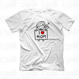 Tshirt maglia maglietta I love mom bimba regalo festa della mamma