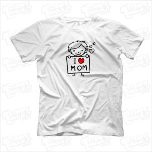 Tshirt maglia maglietta I love mom bimbo regalo festa della mamma