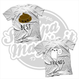 maglietta t-shirt best friends cacca e carta igienica