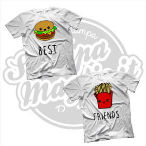 maglietta t-shirt best friends hamburger e patatine