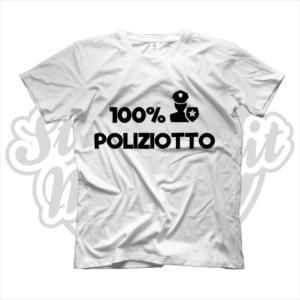 maglietta t-shirt maglia tshirt idea regalo lavoro 100% poliziotto poliziotta