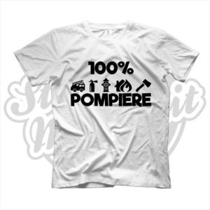 maglietta t-shirt maglia tshirt idea regalo lavoro 100% pompiere