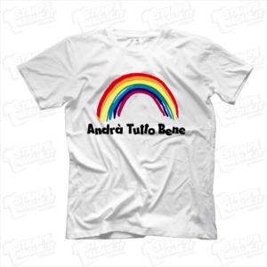 maglietta tshirt t-shirt covid-19 andrà tutto bene arcobaleno coronavirus maglietta simpatica pandemia covid19 italia