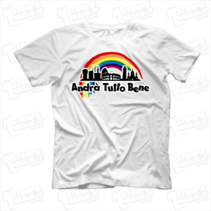maglietta tshirt t-shirt covid-19 andrà tutto bene arcobaleno italia coronavirus maglietta simpatica pandemia covid19 italia