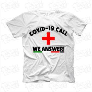 maglietta tshirt t-shirt covid-19 call we answer italia coronavirus maglietta simpatica pandemia covid19