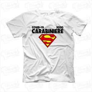 maglietta tshirt t-shirt covid-19 super carbiniere coronavirus maglietta simpatica pandemia covid19 italia