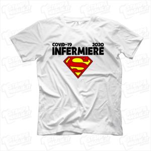 maglietta tshirt t-shirt covid-19 super infermiere coronavirus maglietta simpatica pandemia covid19 italia