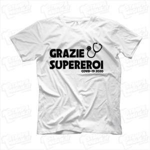 maglietta tshirt t-shirt grazie supereroi covid-19 coronavirus maglietta simpatica pandemia covid19