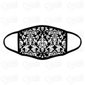 mascherina bordo nero damasco damascato bianco e nero barocco elegante maschera da sera discoteca festa raffinata riccioli decori personalizzata covid19 lavabile simpatica divertente sublimatica