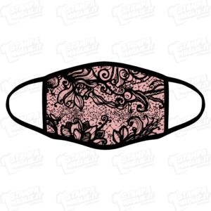 mascherina bordo nero pizzo damasco nero rosa barocco elegante maschera da sera discoteca festa raffinata riccioli decori personalizzata covid19 lavabile sublimatica