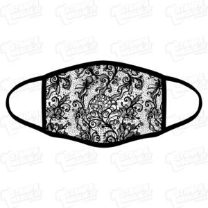 mascherina bordo nero pizzo fiori merletti barocco elegante maschera da sera discoteca festa raffinata riccioli decori personalizzata covid19 lavabile simpatica divertente sublimatica