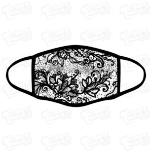 mascherina bordo nero pizzo merletti barocco elegante maschera da sera discoteca festa raffinata riccioli decori personalizzata covid19 lavabile simpatica divertente sublimatica